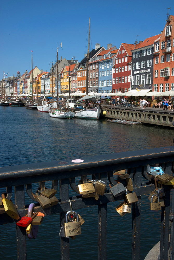 Lovers Locks on the bridge at Nyhavn, Copenhagen, Denmark, Scandinavia, Europe