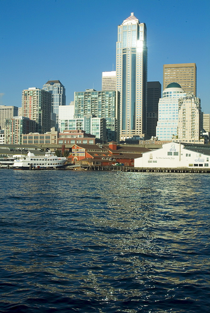 View of Seattle from Bainbridge ferry, Washington state, United States of America, North America