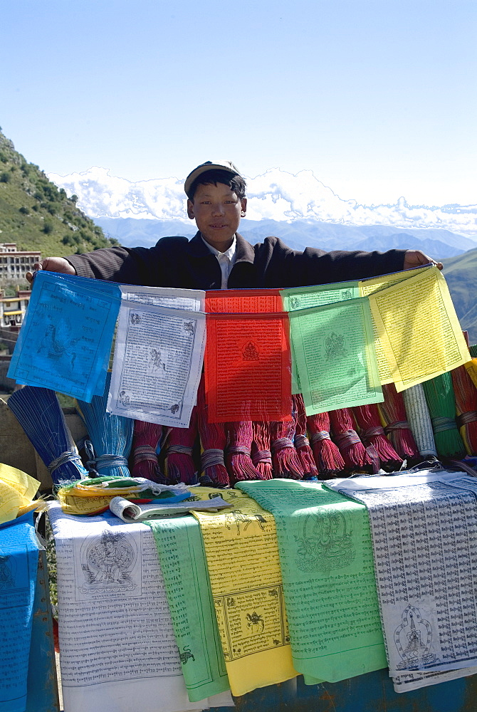 Selling prayer flags, Ganden Monastery, near Lhasa, Tibet, China, Asia