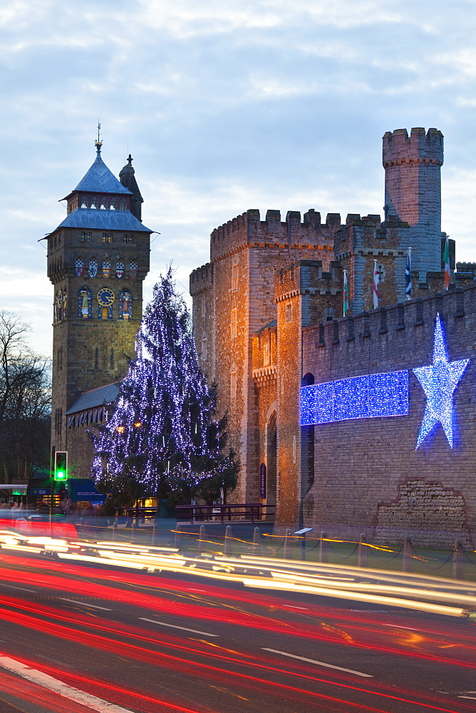 Cardiff Castle with Christmas lights and traffic light trails, Cardiff, South Wales, Wales, United Kingdom, Europe