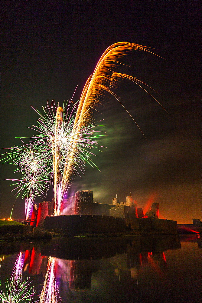 Fireworks, Caerphilly Castle, Caerphilly, South Wales, United Kingdom, Europe - 696-827