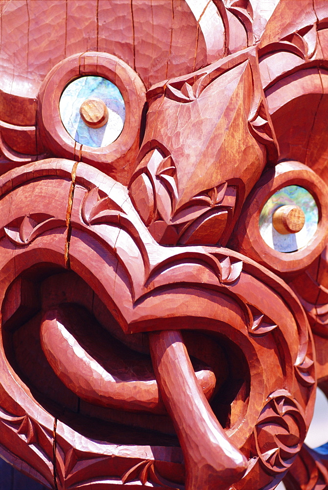 Close-up of Maori carving, Auckland, North Island, New Zealand, Pacific - 698-13