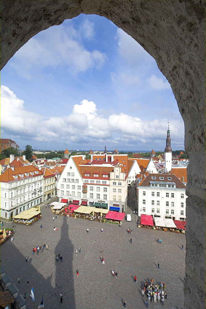 Tourists in the Old Town square with cafe canopies, Tallinn, Estonia, Baltic States, Europe - 698-2162