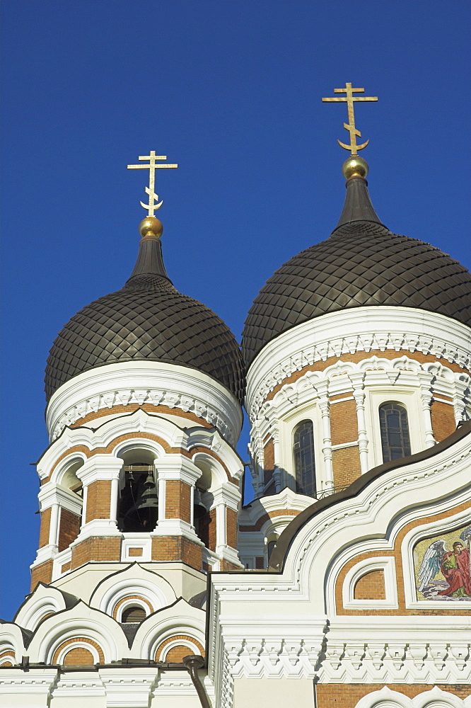 Domes of Alexander Nevsky Cathedral, Russian Orthodox church, Toompea Hill, Tallinn, Estonia, Baltic States, Europe