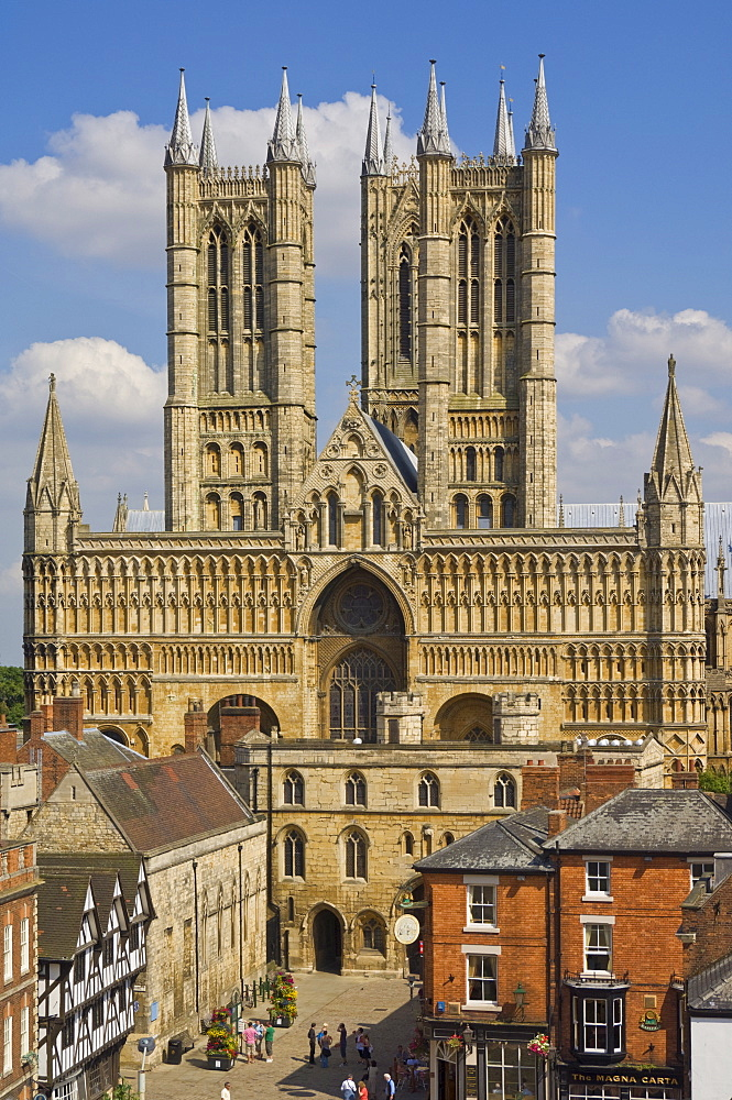 West front of Lincoln cathedral and Exchequer Gate, Lincoln, Lincolnshire, England, United Kingdom, Europe