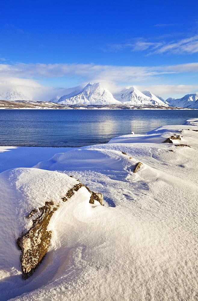 Breivikeidet, looking across Ullsfjord, towards the Southern Lyngen Alps, Troms, Norway, Scandinavia, Europe