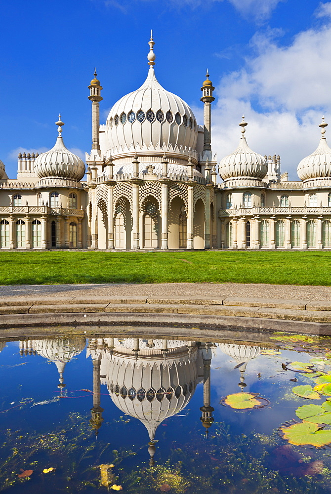Brighton Royal Pavilion with reflection, Brighton, East Sussex, England, United Kingdom, Europe