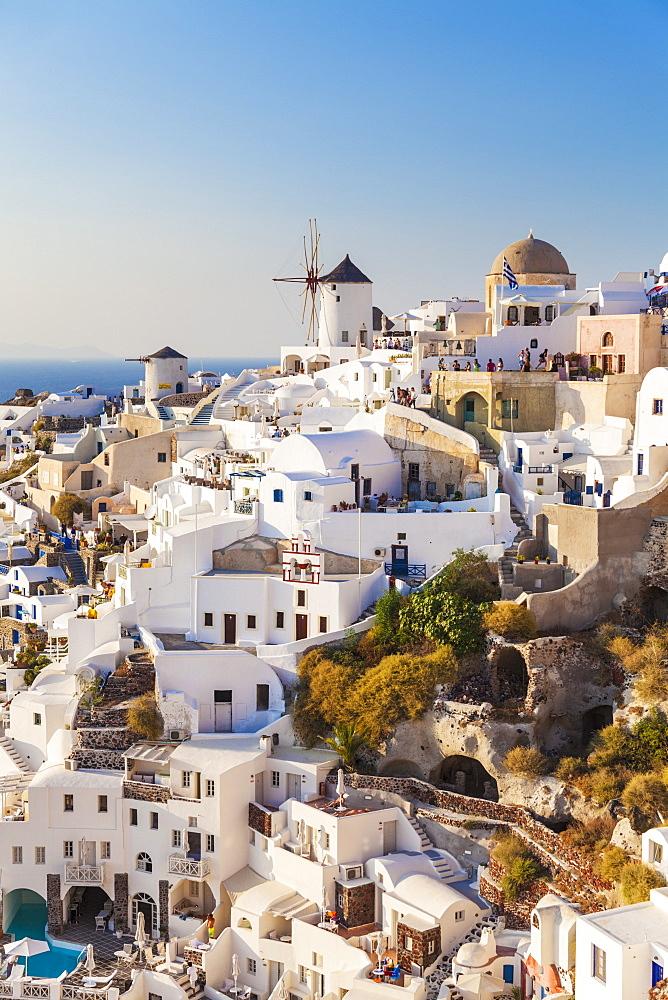 Windmill and traditional houses, Oia, Santorini (Thira), Cyclades Islands, Greek Islands, Greece, Europe