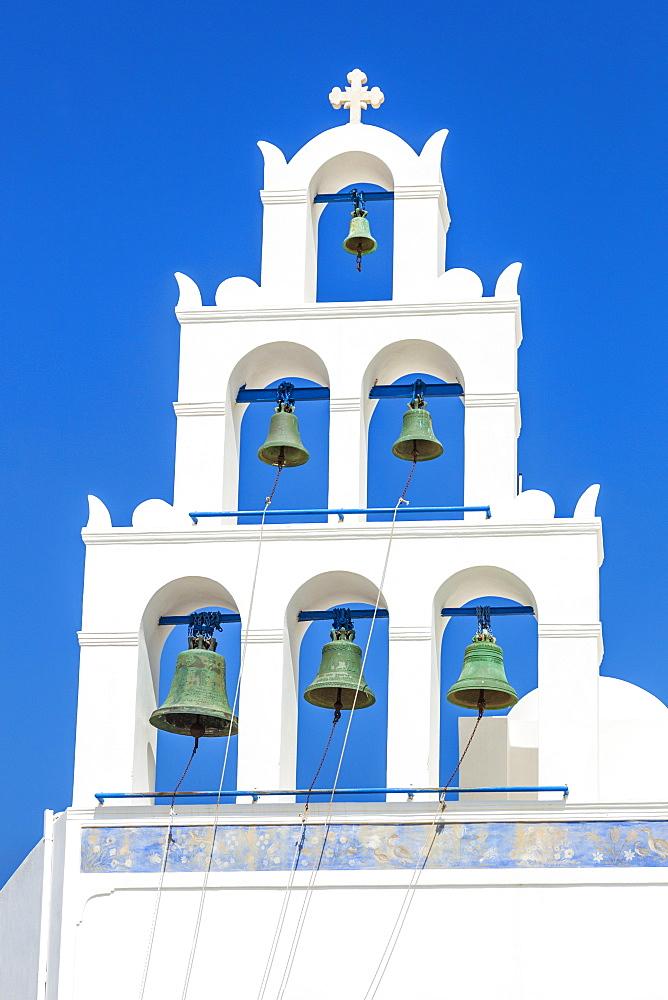 Greek church bell tower of Panagia Platsani, Oia, Santorini (Thira), Cyclades Islands, Greek Islands, Greece, Europe