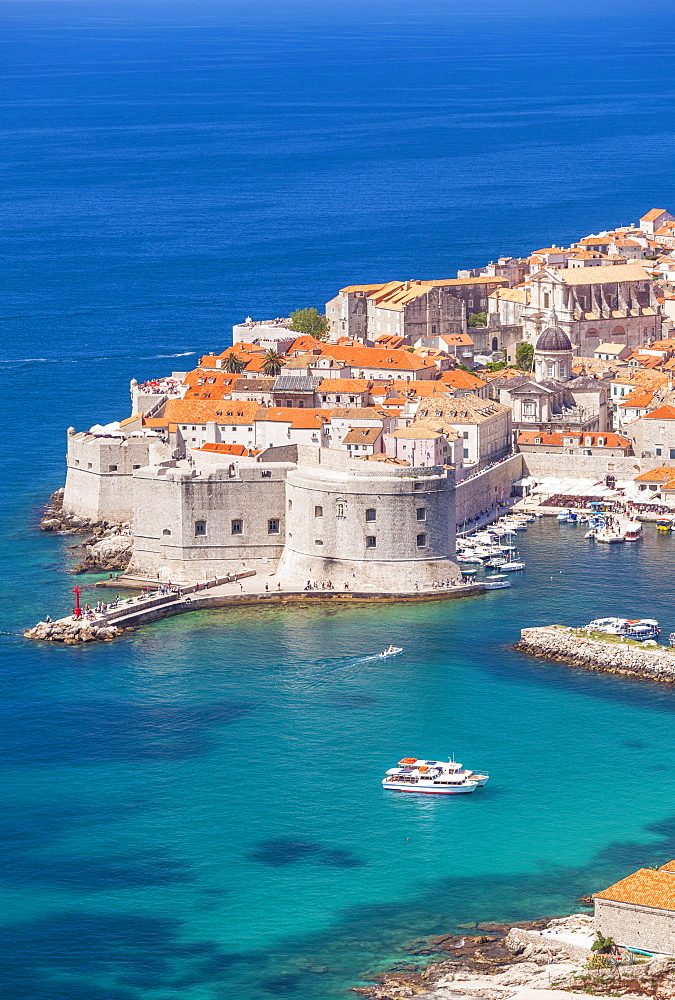 Aerial view of Old Port and Dubrovnik Old town, Dalmatian Coast, Dubrovnik, Croatia, EU, Europe