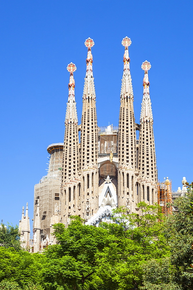 La Sagrada Familia church designed by Antoni Gaudi, back view, Barcelona, Catalonia, Catalunya, Spain, EU, Europe