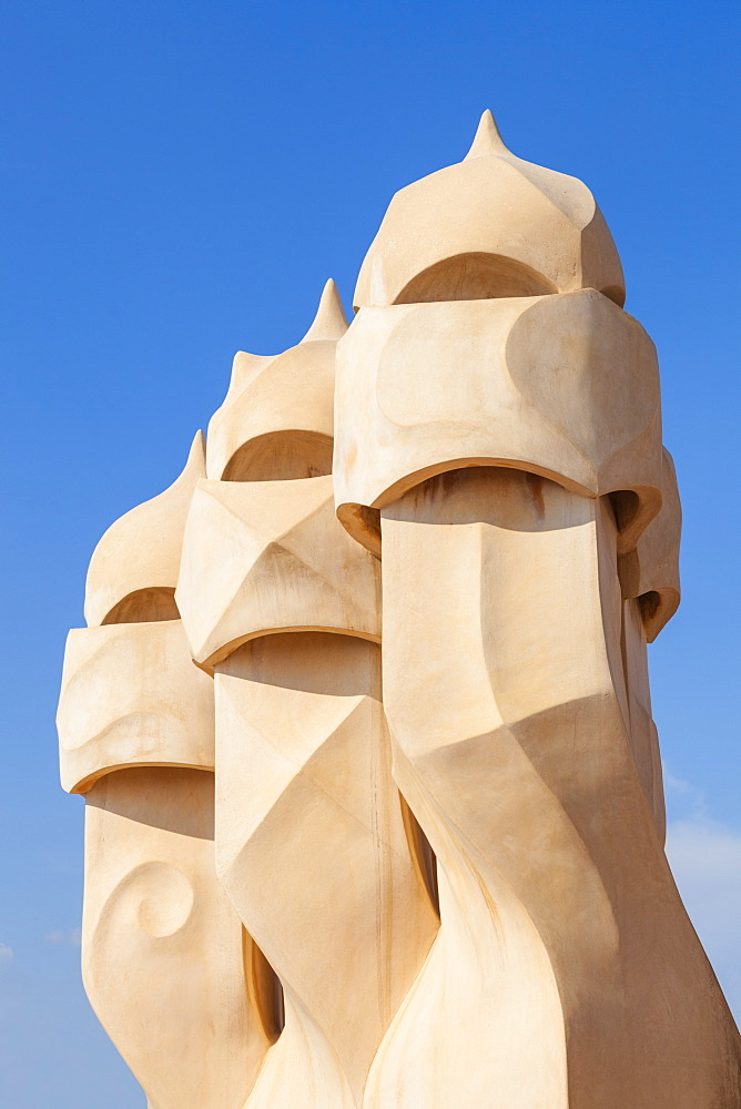 chimney sculptures on the roof of Casa Mila or La Pedrera by Antoni Gaudi, Barcelona, Catalonia, Spain, EU, Europe