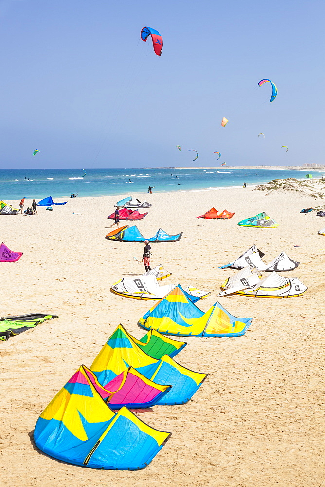 Kite surfers and kite surfing on Kite beach, Praia da Fragata, Costa da Fragata, Santa Maria, Sal Island, Cape Verde, Atlantic, Africa - 698-3212