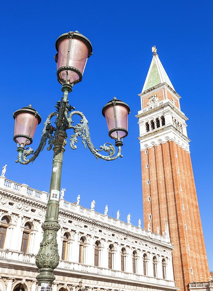 Campanile tower, traditional Venetian lamp post, Piazzetta, St. Marks Square, Venice, UNESCO World Heritage Site, Veneto, Italy, Europe - 698-3227