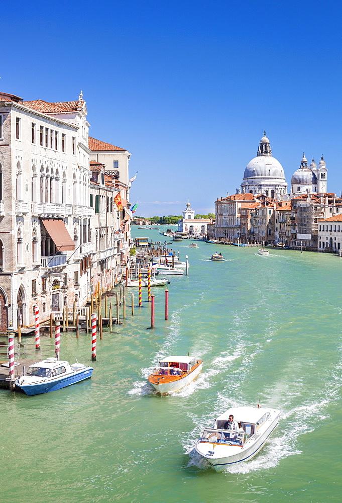 Vaporettos (water taxis) passing Palazzo Barbaro and the Santa Maria della Salute on the Grand Canal, Venice, UNESCO World Heritage Site, Veneto, Italy, Europe
