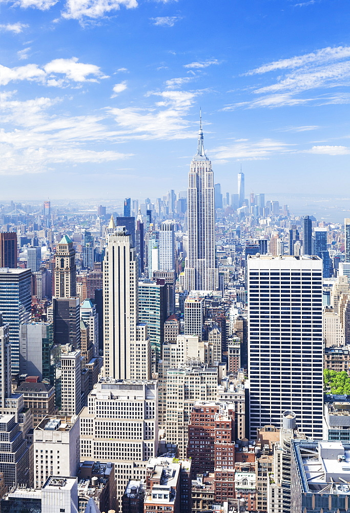 Manhattan skyline, New York skyline, Empire State Building, New York City, United States of America, North America - 698-3276