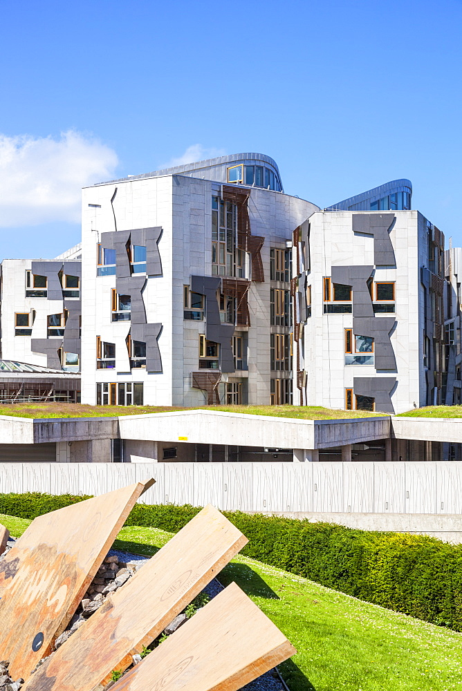 Exterior of the Scottish Parliament building, modern architecture, Holyrood, Edinburgh, Midlothian, Scotland, United Kingdom, Europe - 698-3287