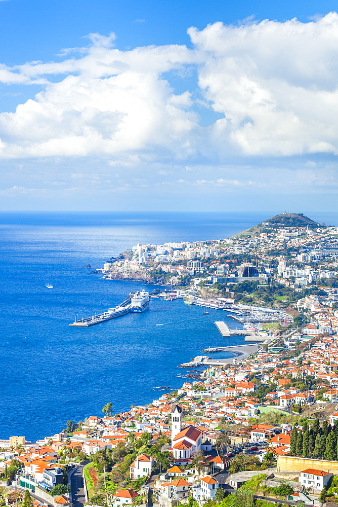 View over Funchal, capital city of Madeira, city, port and harbour, Madeira, Portugal, Atlantic, Europe - 698-3315