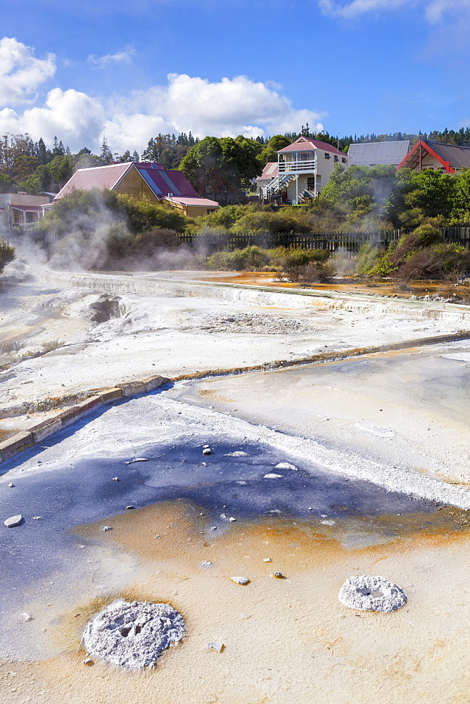 Geothermal Terraces with mineral deposit run off, Whakarewarewa thermal village, Rotorua, North Island, New Zealand, Pacific
