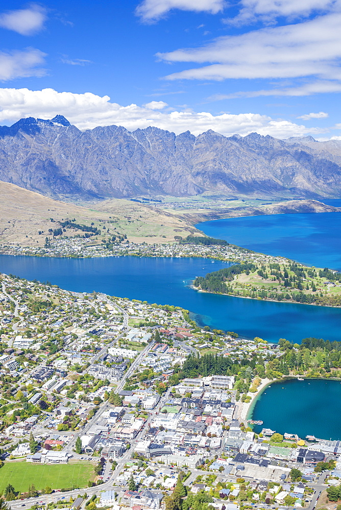 Aerial view of downtown Queenstown town centre, Lake Wakatipu and The Remarkables mountain range, Queenstown, Otago, South Island, New Zealand, Pacific - 698-3341