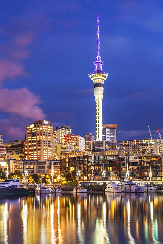 Viaduct Harbour waterfront area and Auckland Marina at night, Auckland skyline, Sky Tower, Auckland, North Island, New Zealand, Pacific - 698-3353