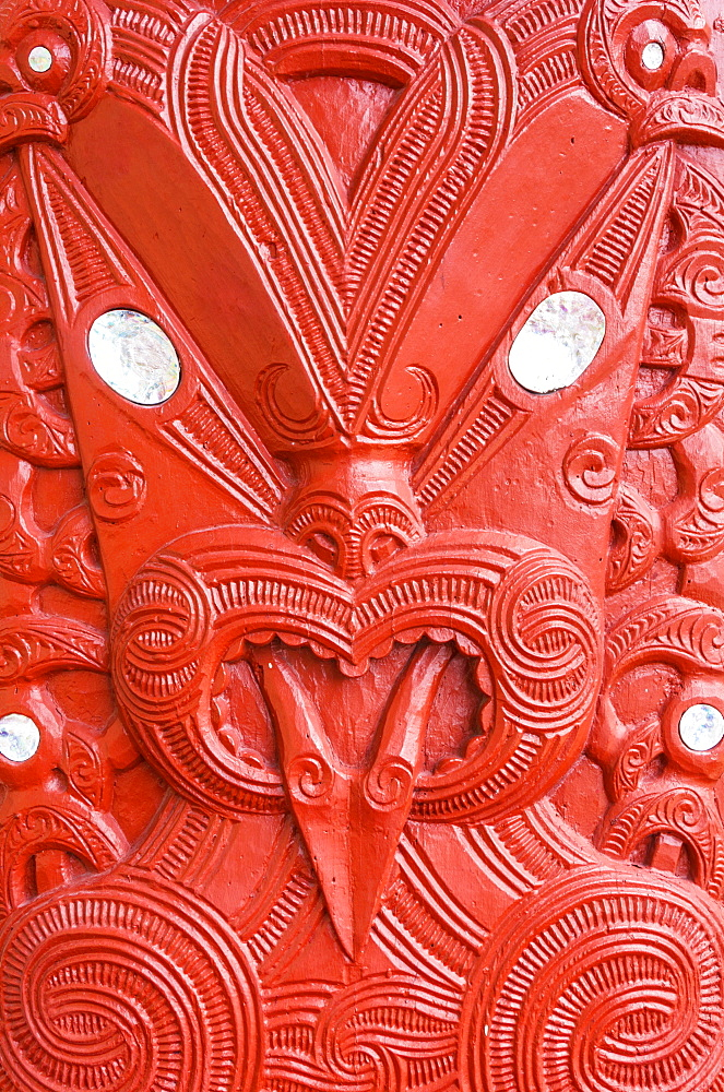 Red Maori carving, Marai meeting house, Whakarewarewa thermal village, Wahiao, Rotorua, North Island, New Zealand, Pacific - 698-3355
