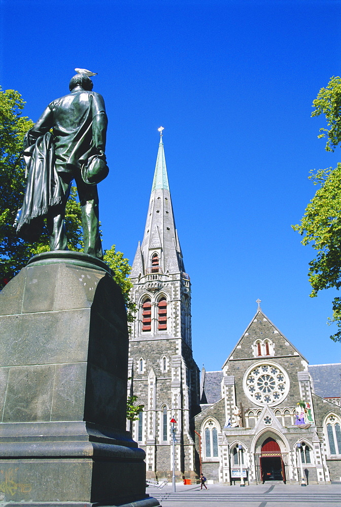 Statue of J R Godley and the Cathedral, Christchurch, Canterbury, South Island, New Zealand