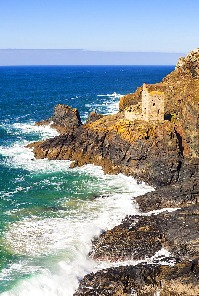 The Crowns Engine Houses Botallack historic cornish tin mine, Botallack St Just Penzance Cornwall England UK GB Europe