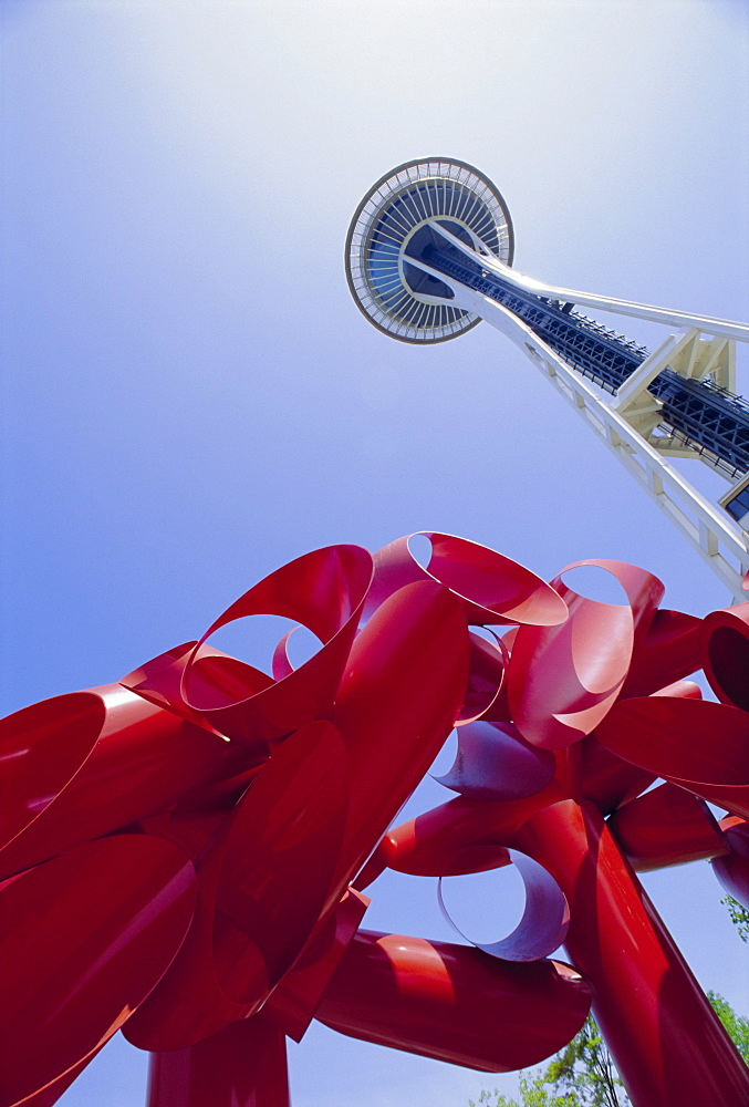 Modern sculpture and Space Needle, Seattle, Washington *** Local Caption ***