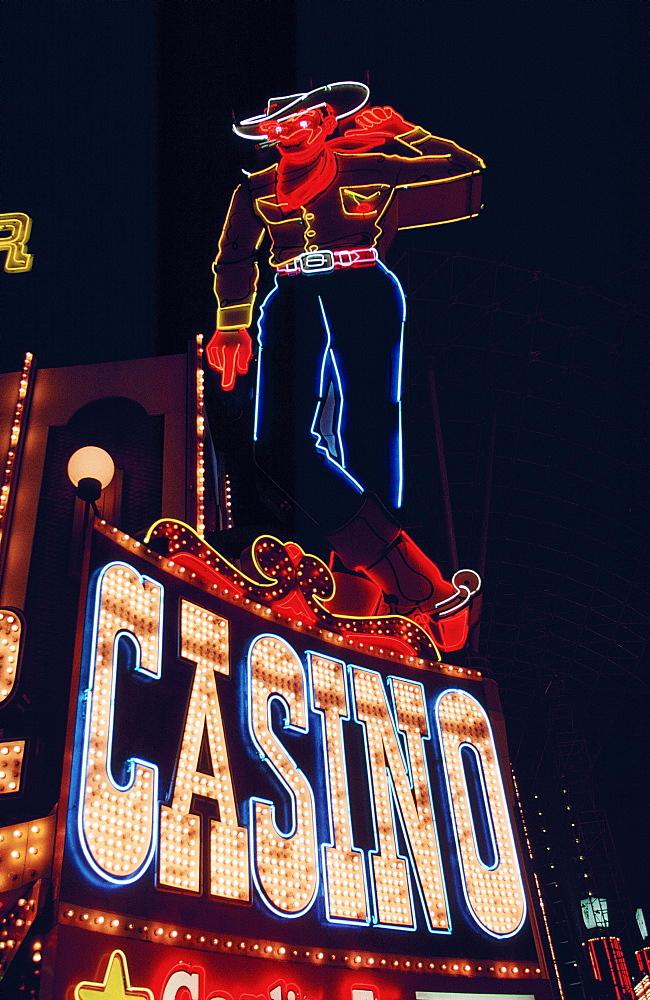 Fremont Street cowboy casino sign, Las Vegas