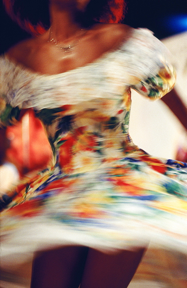 Close-up of woman dancing the Sega-Maloya, Reunion Island, Africa