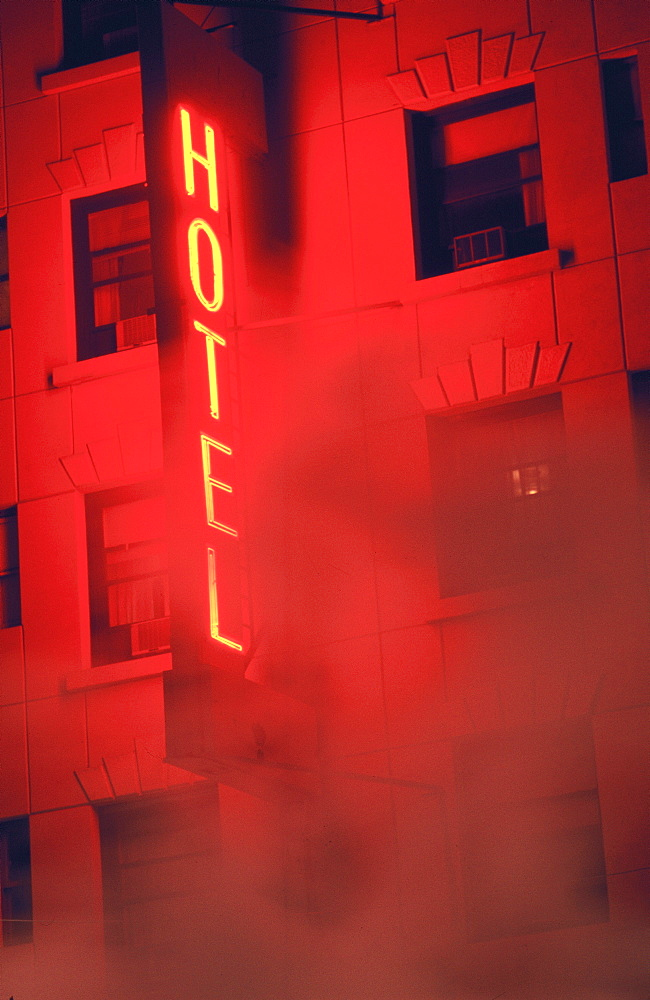 Red Neon Hotel Sign