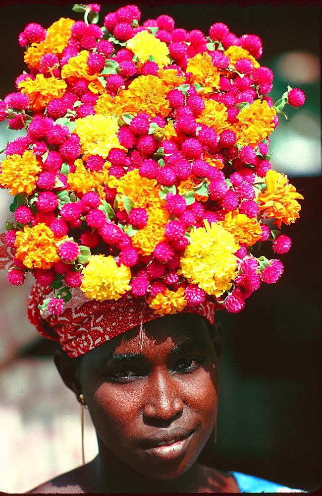 Flower seller, Senegal, Africa