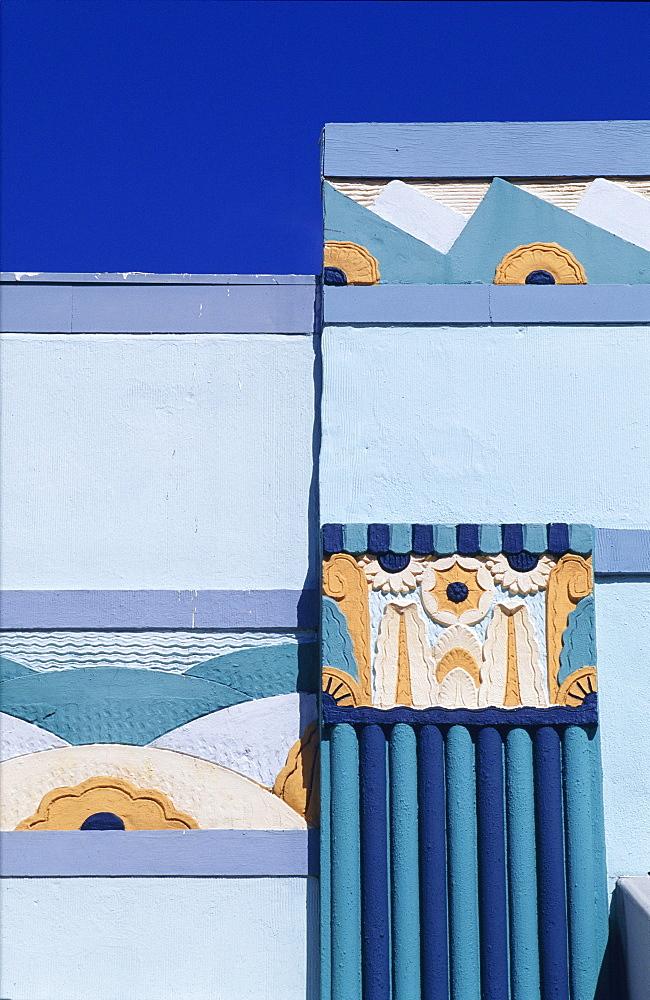 Detail of building facade in the Art Deco District, Miami Beach (South Beach), Miami, Florida, USA