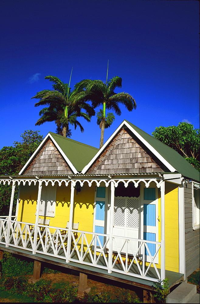 Beach hut architecture on a sugar cane plantation, Nevis