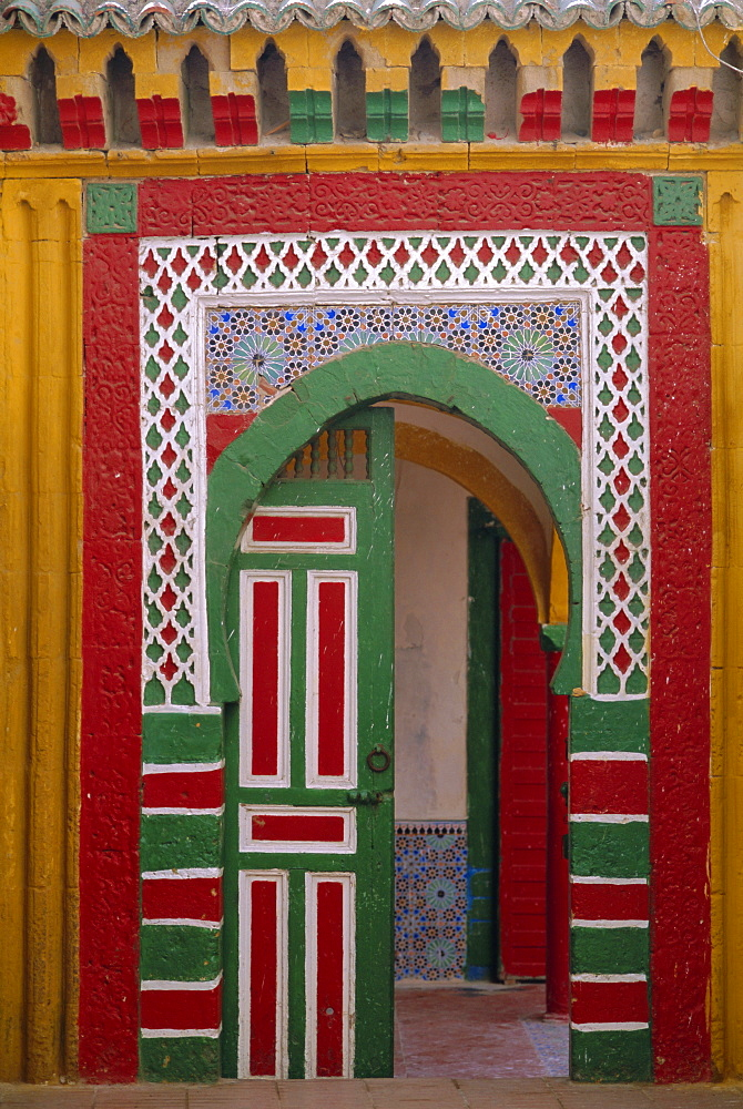 Brightly painted door in the Medina, Essaouira, Morocco - 712-1104