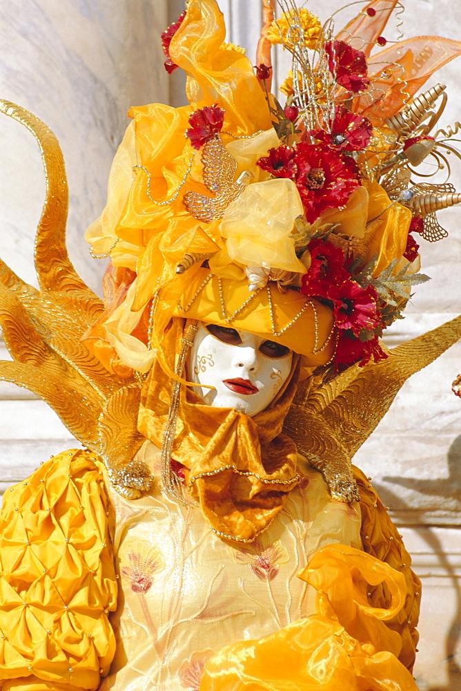 Person wearing masked carnival costume, Venice Carnival, Venice, Veneto, Italy - 712-1188