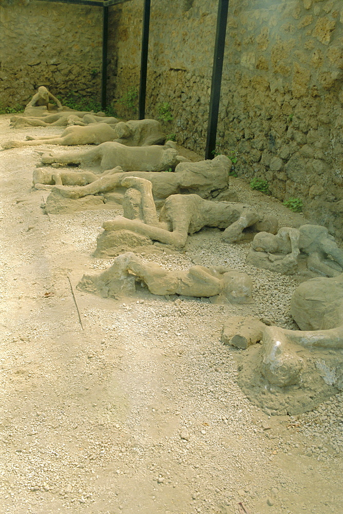 Casts of people buried in the destruction, Pompeii, Campania, Italy