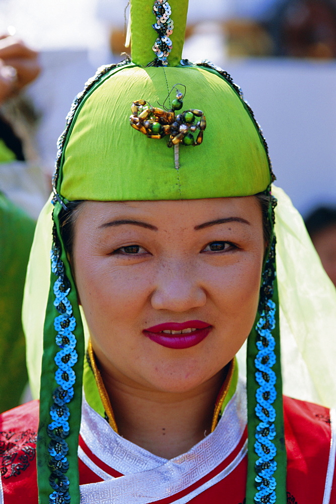 Portrait of a woman at the Naadam Festival, Ulaan Baatar (Ulan Bator), Mongolia, Asia