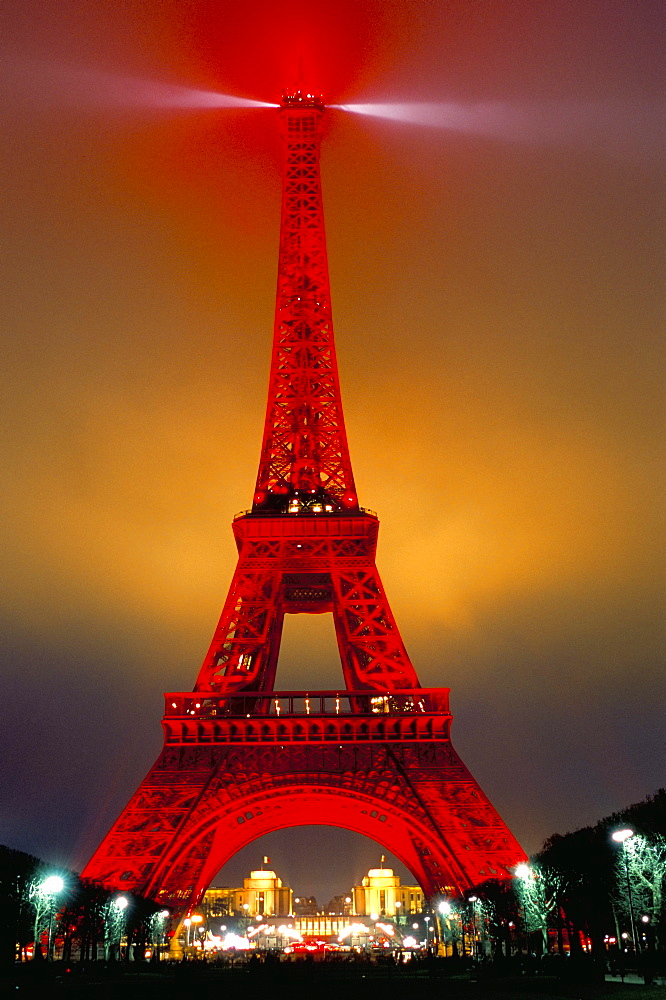 Eiffel Tower decorated for Chinese New Year, Paris, France, Europe - 712-1470