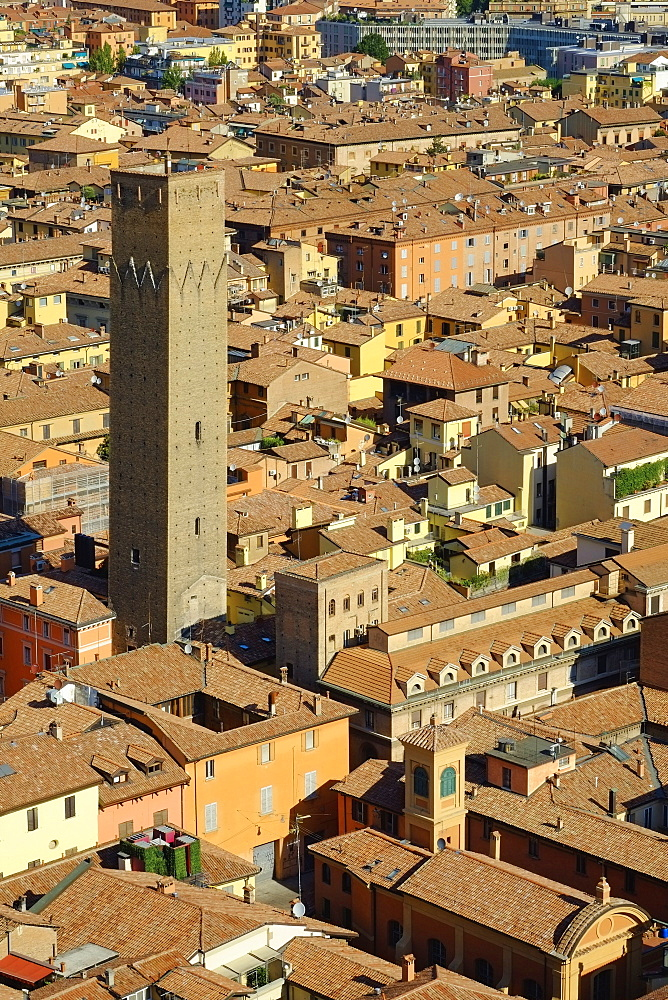 Cityscape over one of the towers of the town, Bologna, Emilia-Romagna, Italy, Europe