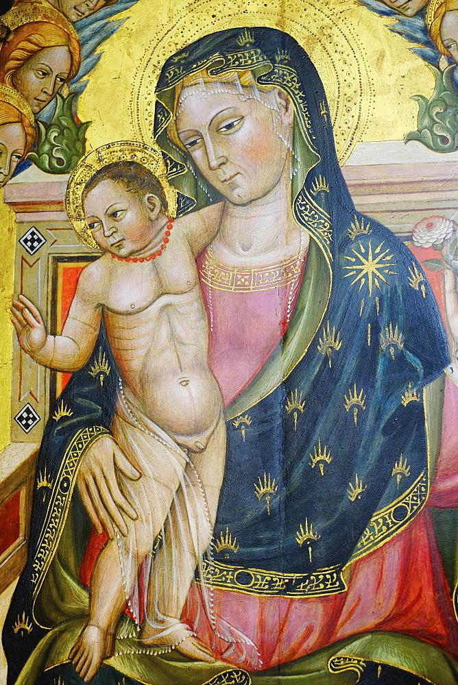 Detail of Polittico by Pietro di Giovanni Lianori, painted in 1453, Pincoteca Nazionale Art Gallery, Bologna, Emilia-Romagna, Italy, Europe