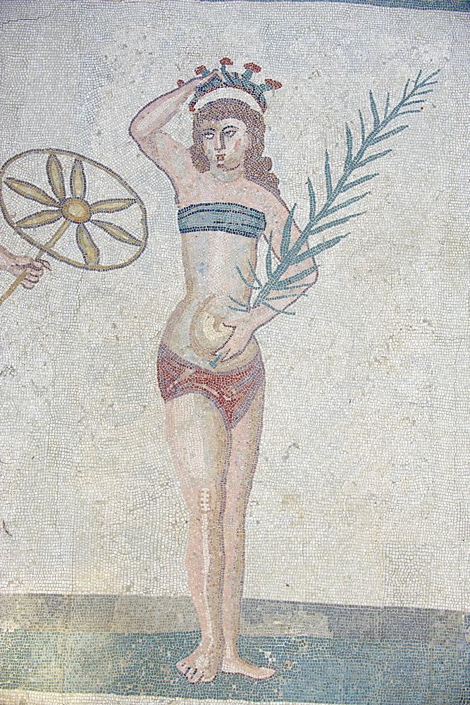 Mosaic of girls in bikinis, Villa Romana del Casale, Piazza Armerina, UNESCO World Heritage Site, Sicily, Italy, Europe  - 712-2700