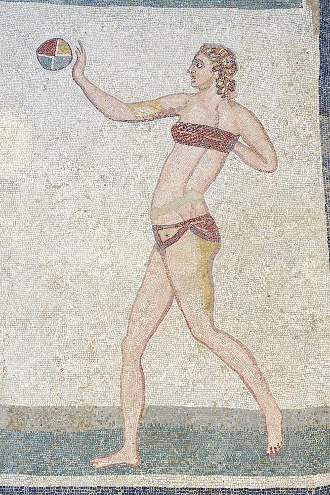 Mosaic of girls in bikinis, Villa Romana del Casale, Piazza Armerina, UNESCO World Heritage Site, Sicily, Italy, Europe  - 712-2701