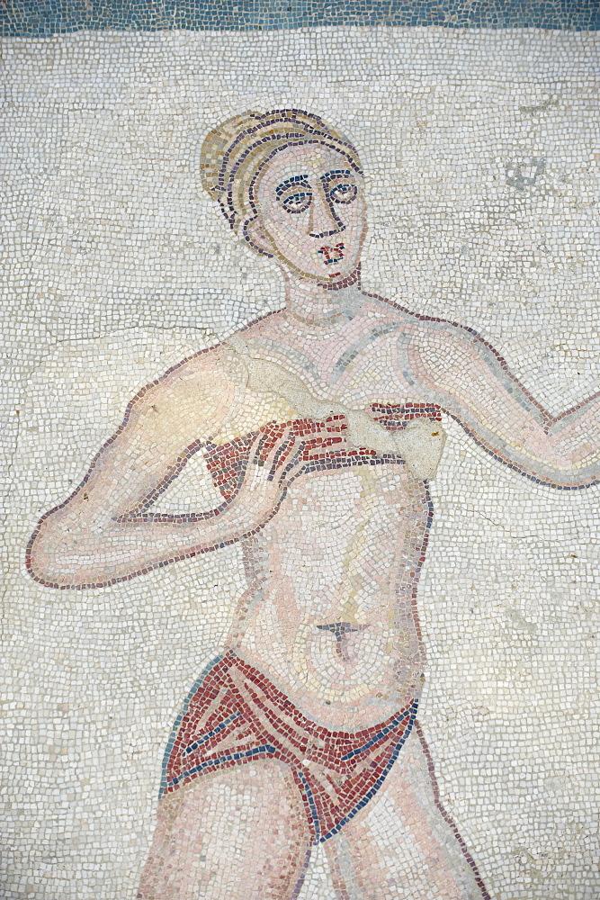 Mosaic of girls in bikinis, Villa Romana del Casale, Piazza Armerina, UNESCO World Heritage Site, Sicily, Italy, Europe  - 712-2702