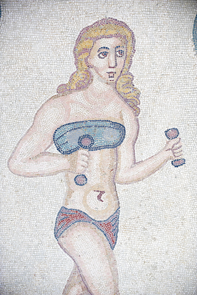 Mosaic of girls in bikinis, Villa Romana del Casale, Piazza Armerina, UNESCO World Heritage Site, Sicily, Italy, Europe  - 712-2703