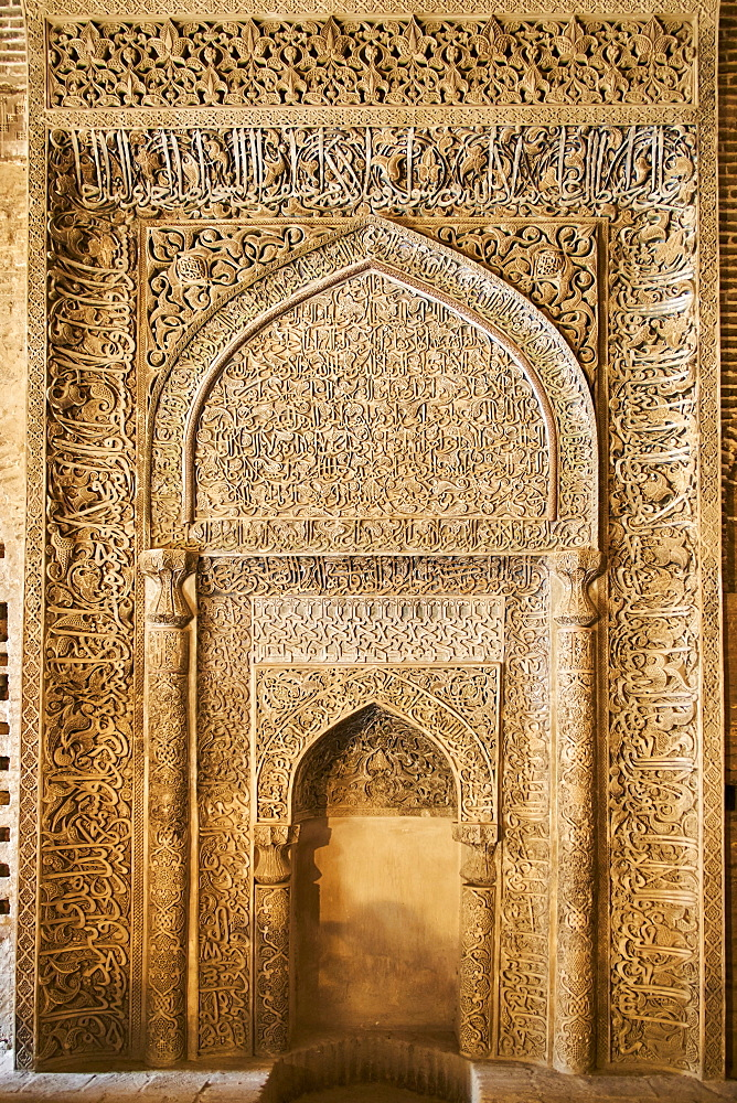 Iran, Isfahan, Friday mosque, world heritage of the UNESCO, stucco mihrab with Quranic inscriptions