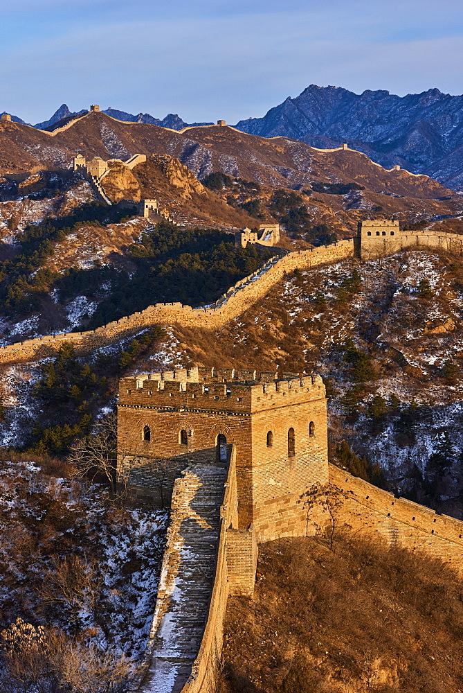 Elevated view of the Jinshanling and Simatai sections of the Great Wall of China, Unesco World Heritage Site, China, East Asia