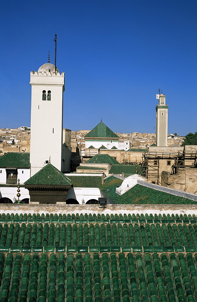 Rooftop of the Kairaouine Mosque, Fes el Bali, Fez, Morocco, North Africa, Africa