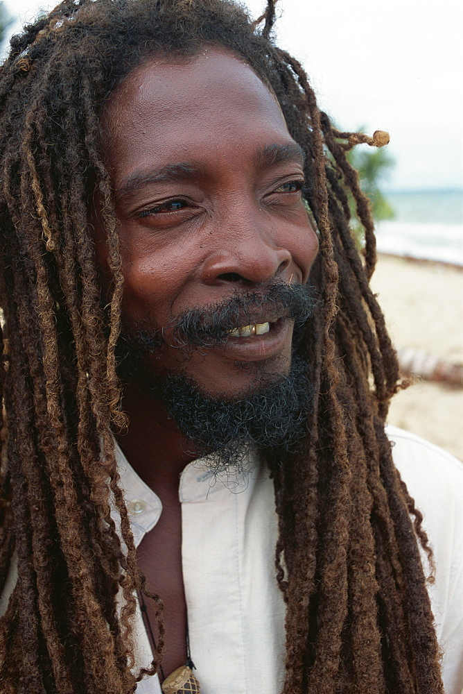 Member of the Original Turtle Shell Band, a group of Garifuna musicians, Dangriga, Stann Creek, Belize, Central America